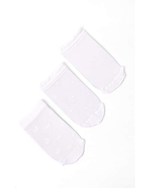 3pak białych skarpetek dla dziewczynki