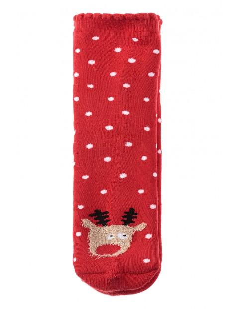 Skarpety dziewczęce świąteczne- czerwone z reniferem
