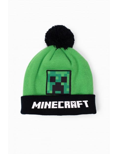 Czapka chłopięca zielona z pomponem Minecraft