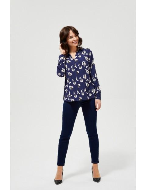 Granatowa koszula w kwiaty