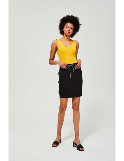 Bawełniana sportowa spódnica z lampasami - czarna