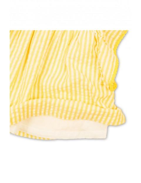 Top niemowlęcy w paseczki z ozdobnymi rękawami w żółte paseczki