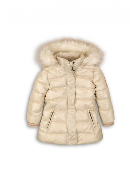 Kurtka dziewczęca zimowa pikowana- kremowa