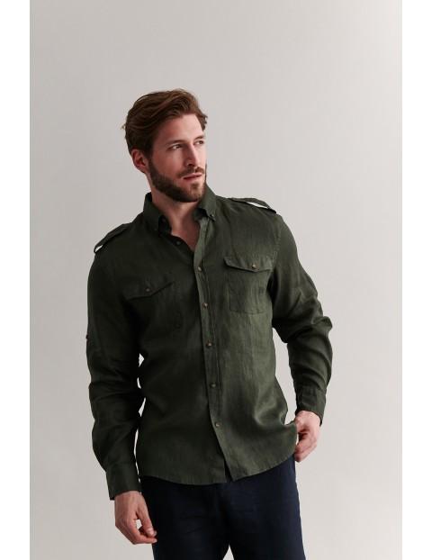 Lniana koszula męska z dwoma kieszonkami - zielona