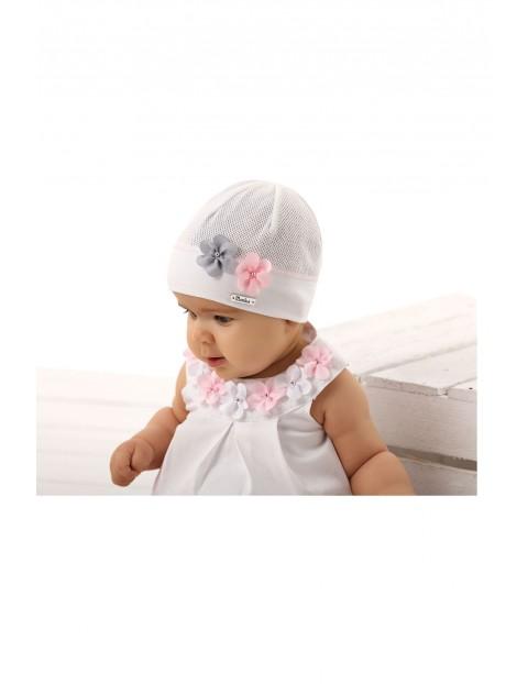 Czapka niemowlęca różowa z kwiatkami- 100% bawełna