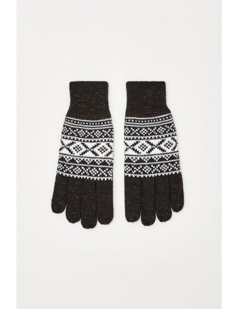 Rękawiczki we wzór z metaliczną nitką - czarne