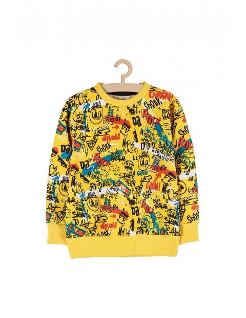 Bluza dresowa chłopięca nierozpinana- żółta w kolorowe nadruki grafitti