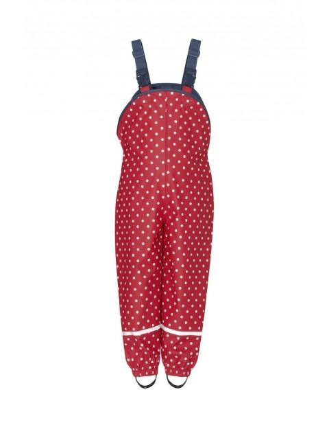 Spodnie przeciwdeszczowe w kropki czerwone