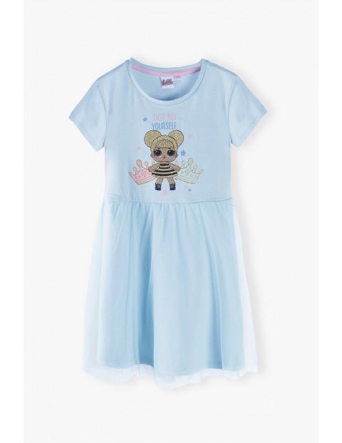 Sukienka dziewczęca LOL Surprise- niebieska dzianinowa