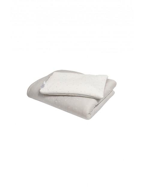 Pościel z wypełnieniem szara w białe serduszka - 100% bawełny by Małgosia Socha 120x180