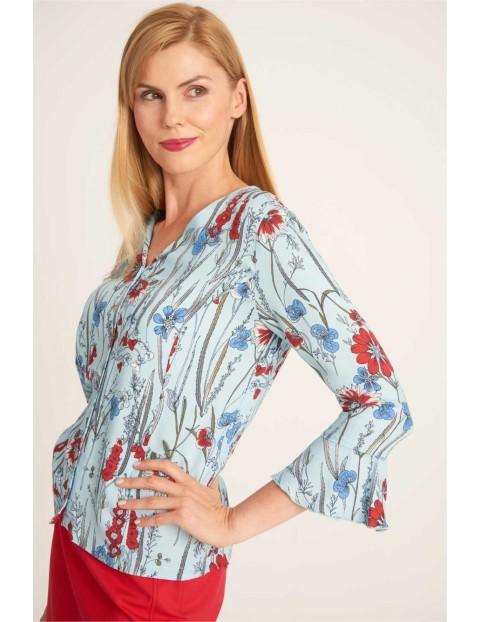Błękitna bluzka damska w kwiaty