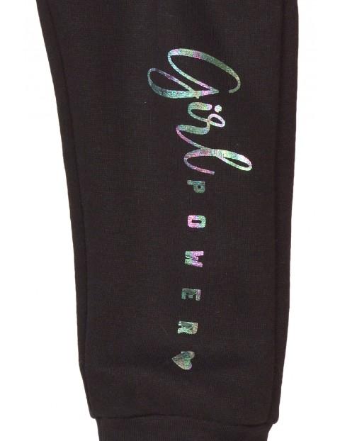 Spodnie dresowe dziewczęce czarne- Girl Power