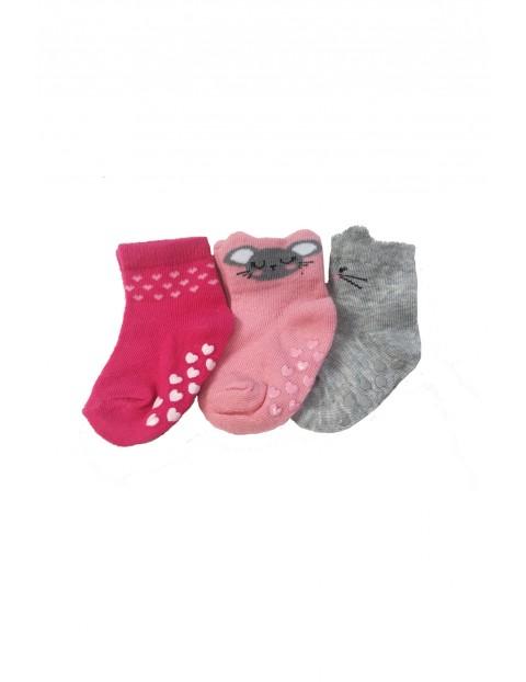 Skarpetki niemowlęce różowe z ABSem- 3pak