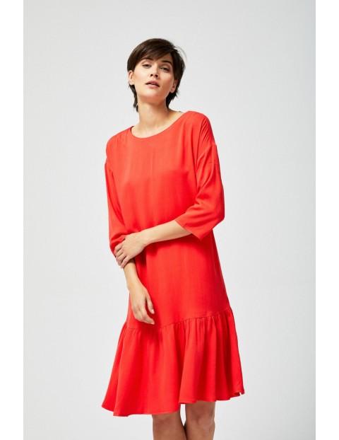 Sukienka damska czerwona z falbaną i kokardą z tyłu
