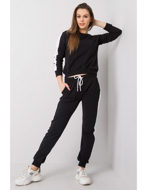 RUE PARIS Komplet dresowy z białym lampasem -czarna bluza i spodnie