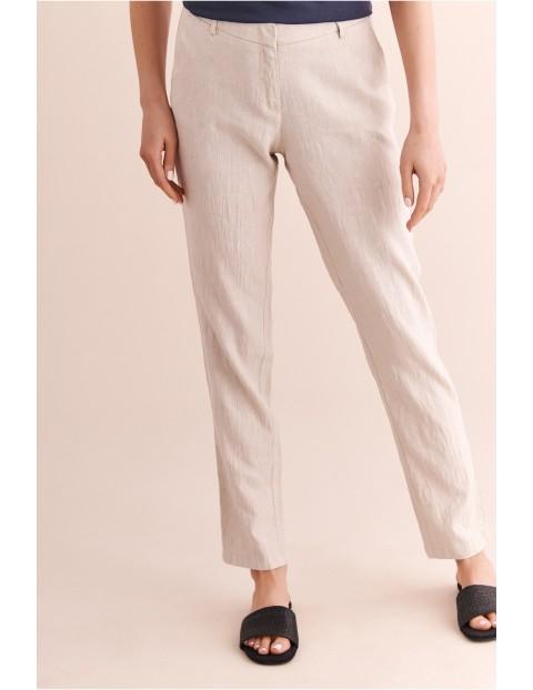 Lniane spodnie damskie Tatuum -7/8 nogawka - beżowe