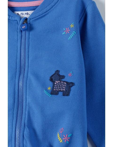 Bluza dresowa dziewczęca w zwierzaki  - niebieska