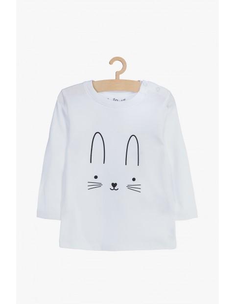 Biała bawełniana bluzka z królikiem- długi rękaw