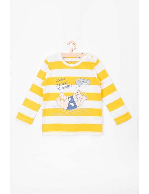 Bluzka chłopięca w biało-żółte paski z zabawnym nadrukiem