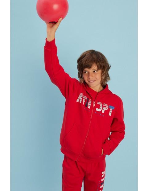 Bluza dresowa chłopięca czerwona z kapturem