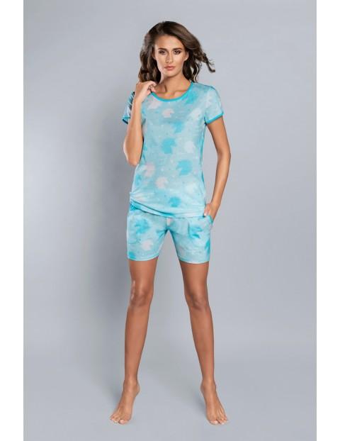Dwuczęściowa piżama damska niebieska w jednorożce Italian Fashion