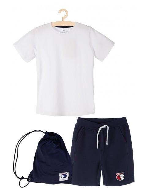 Komplet sportowy chłopięcy - tshirt spodenki i worek