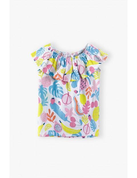 Bluzka dziewczęca na lato kolorowa w owocowe wzory