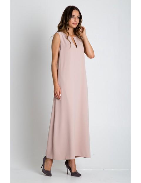Sukienka damska maxi beżowa