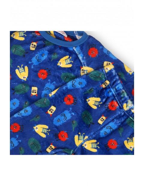 Piżama chłopięca w potworki- niebieska