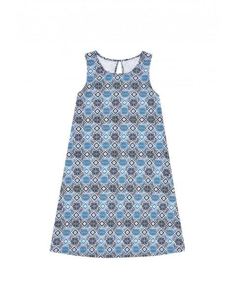 Sukienka damska niebieska z nadrukiem