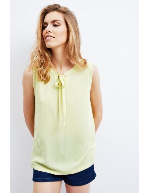 Koszula z krótkim rękawem z koronką żółta