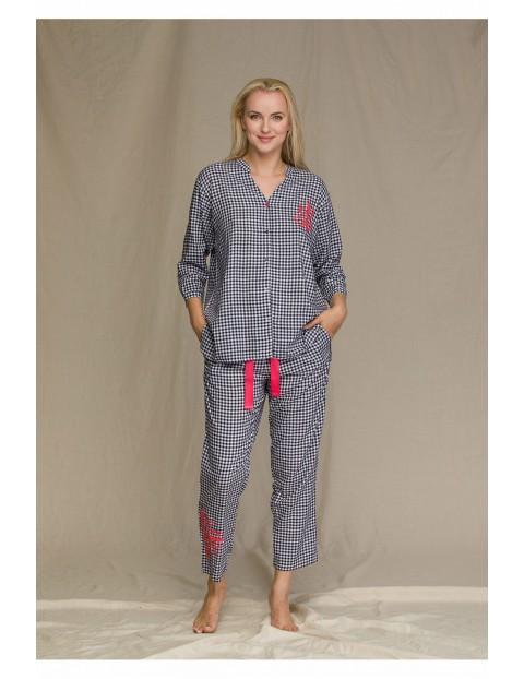 Kraciasty komplet piżamowy z motywem ludowym