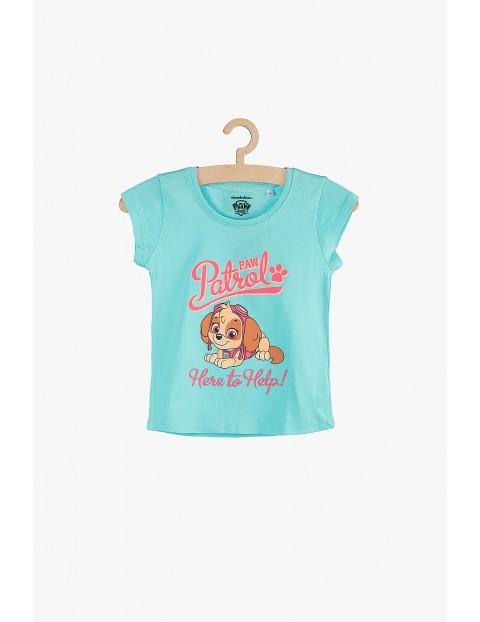 Bawełniany dziewczęcy t-shirt- Psi Patrol niebieski