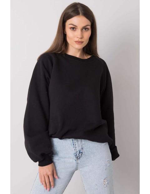 RUE PARIS Gładka bluza dzianinowa damska - czarna