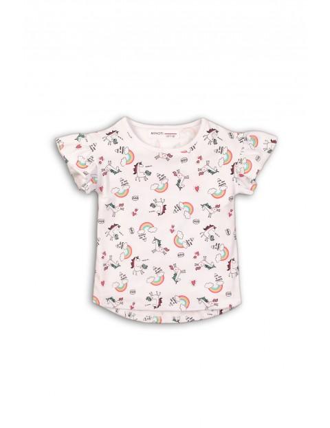 T-shirt bawełniany w jednorożce i tęcze