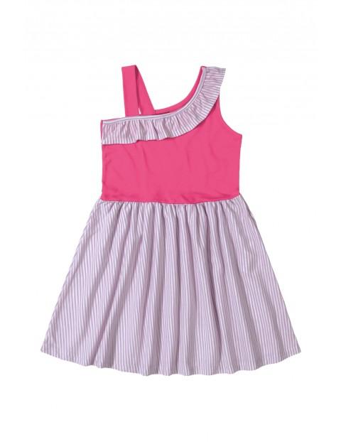 Sukienka dziewczęca w paski różowa