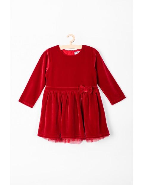 Sukienka niemowlęca świąteczna- czerwona z kokardką