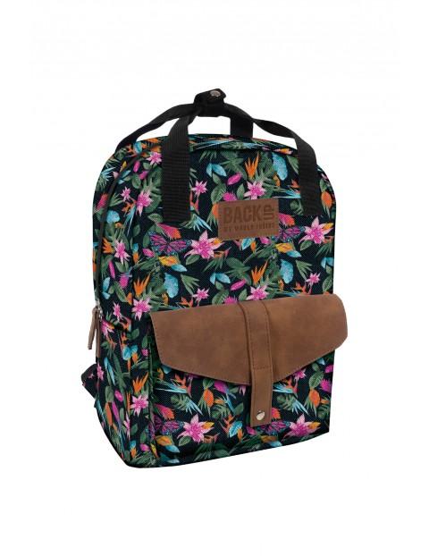 Plecak dziewczęcy w kwiatowe wzory
