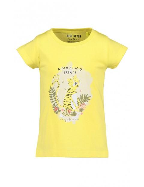 Koszulka dziewczęca żółta z tygrysem - Safari