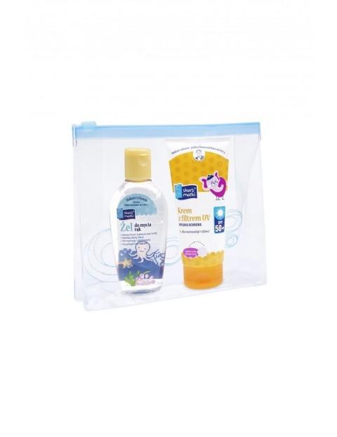 Krem z filtrem UV SPF 50 + żel do mycia rąk 80ml + kosmetyczka
