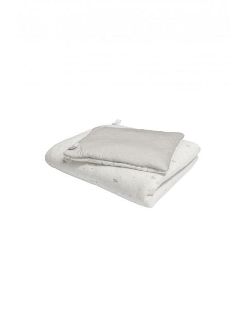 Pościel z wypełnieniem Biała w szare serduszka - 100% bawełny jersey by Małgosia Socha 80x100
