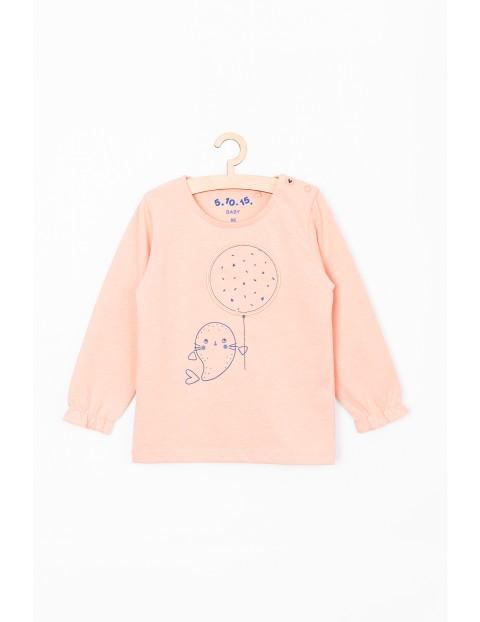 Różowa bluzka niemowlęca z foką
