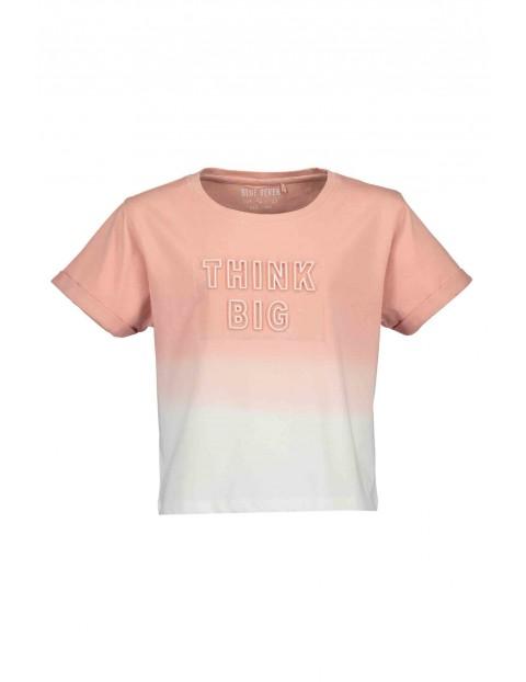 T-Shirt dziewczęcy różowo-biały z napisem Think big