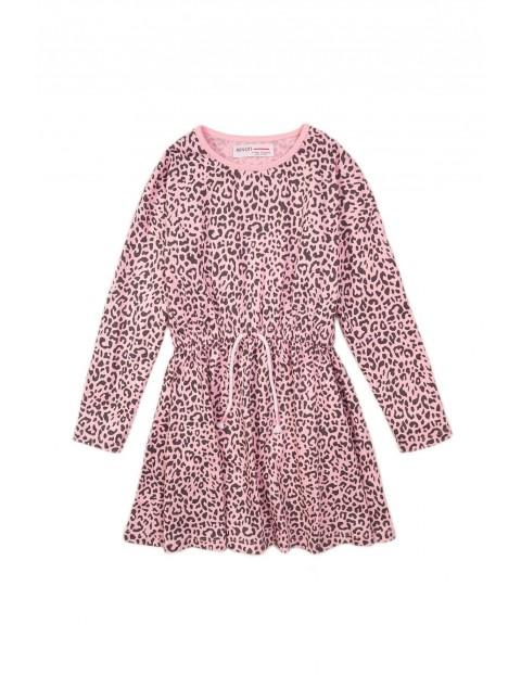Różowa bawełniana sukienka w panterkę