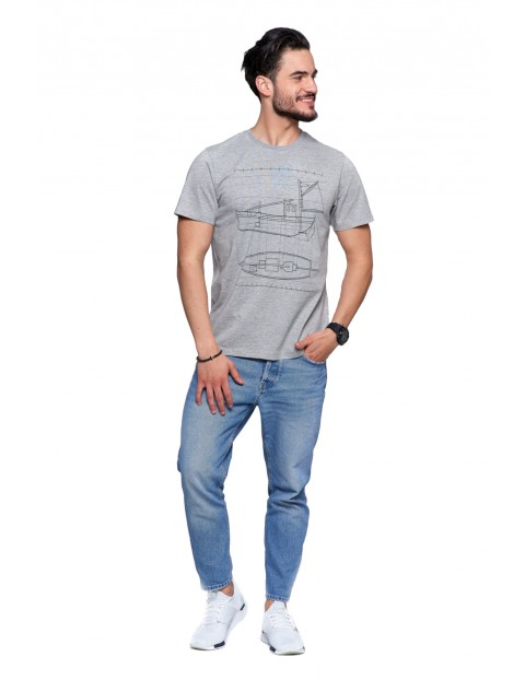 T-shirt męski bawełniany - szary z nadrukiem