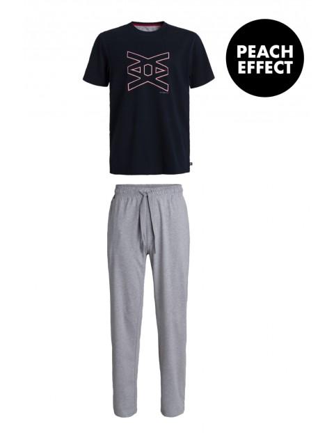 Piżama męska spodnie z długą nogawką + t-shirt z nadrukiem  Atlantic
