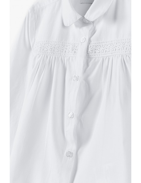 Biała koszula dziewczęca zapinana na guziki -długi rękaw