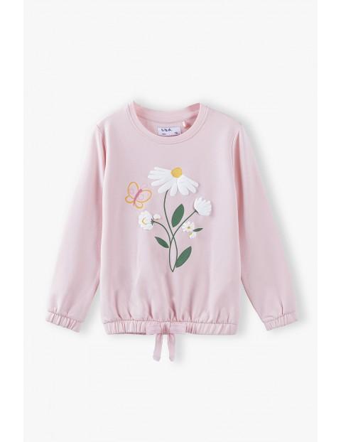 Bluza dresowa dziewczęca z kwiatkiem - różowa