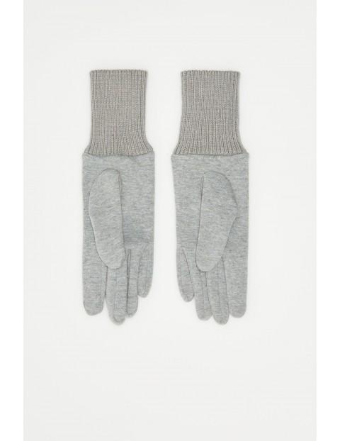Rękawiczki damskie- szare ze ściągaczem