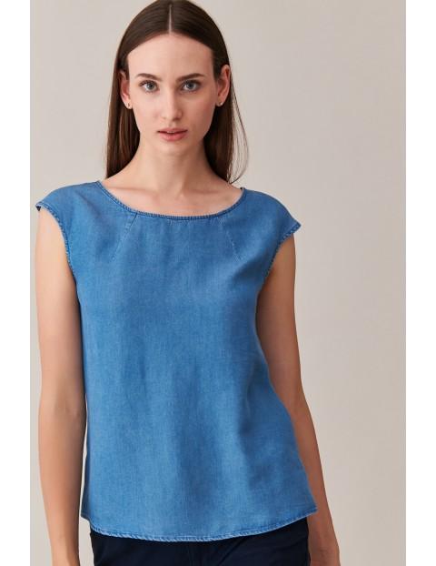 Denimowa bluzka z krótkim rękawem - niebieska